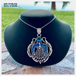 925 Sterling silver Blue quartz & topaz necklace